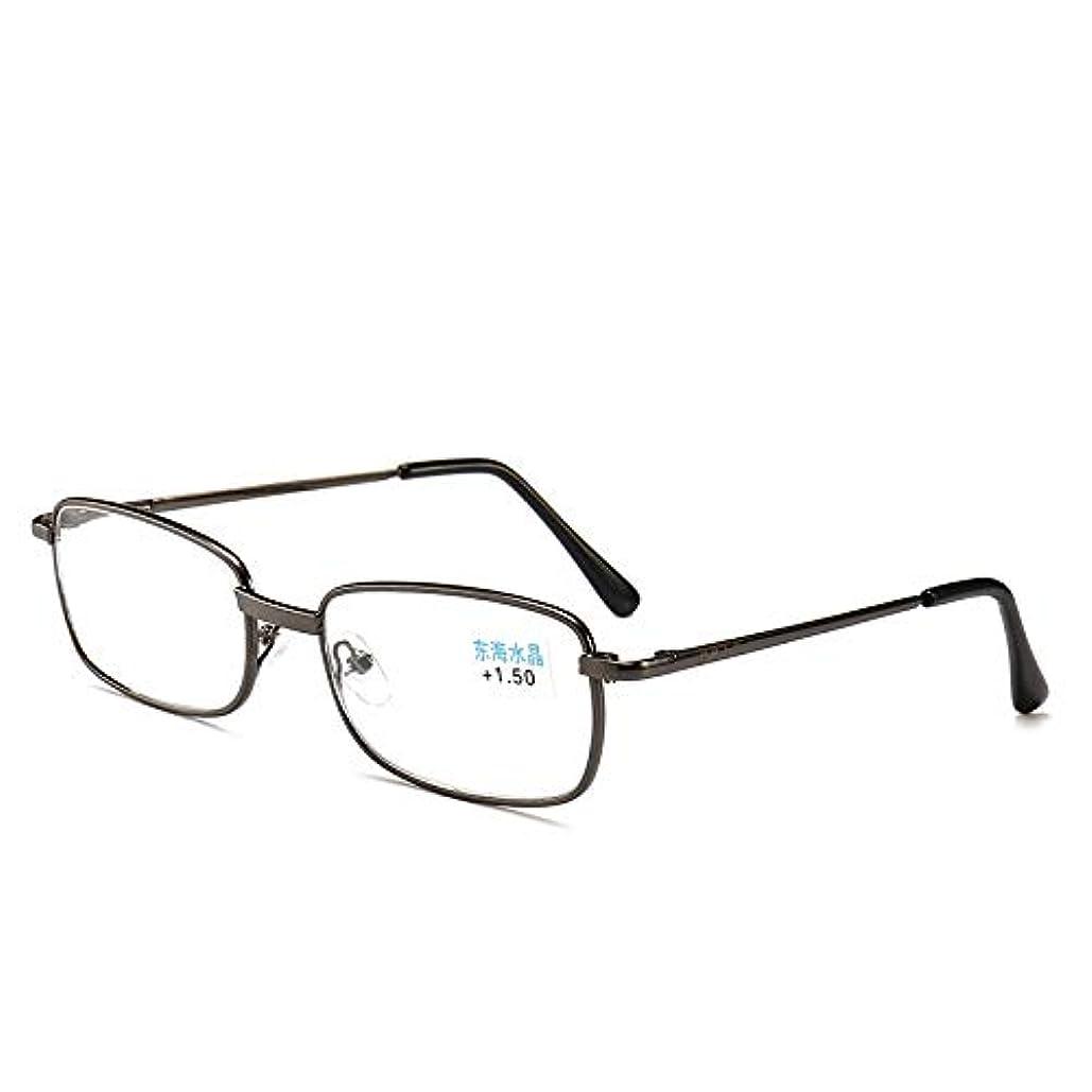 老眼鏡+2.0に適した金属製フルフレーム老眼鏡/男性用超軽量リーダー春ヒンジガラスレンズ合金材料、スタイリッシュで快適な拡大鏡