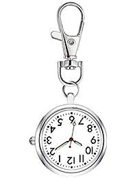 ナースウォッチ 時計 懐中時計 キーホルダー ナスカン シンプル リュック バッグ ポケット ランドセル 見やすい大きい文字盤 男女兼用 チェーン フック