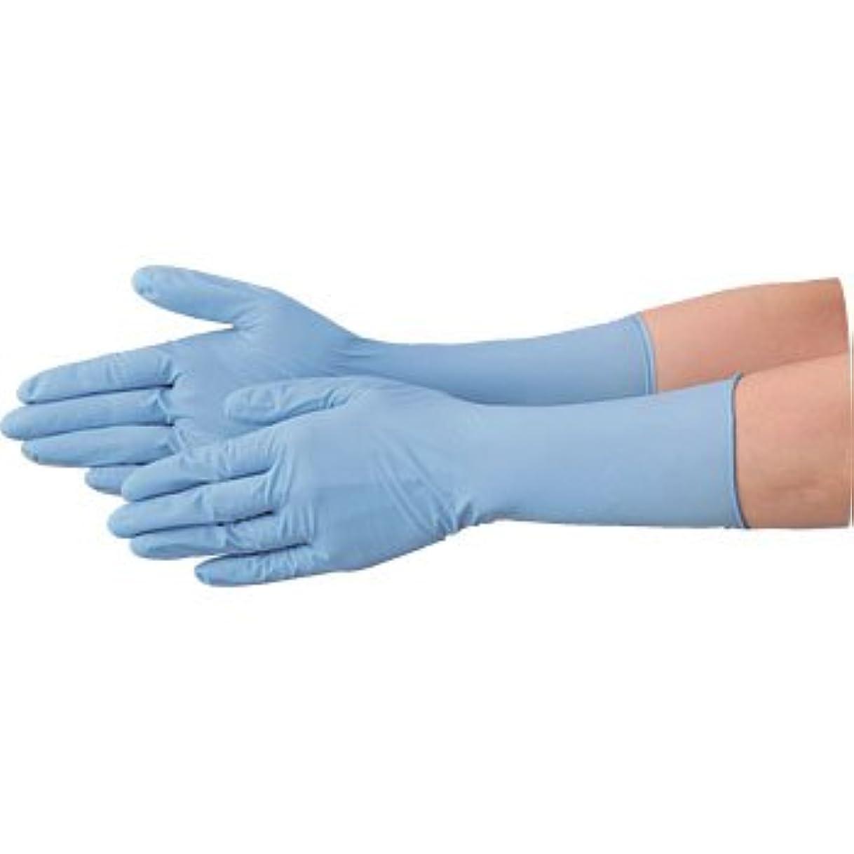 お尻ラフトビュッフェ使い捨て 手袋 エブノ 528 ニトリル ロング手袋 パウダーフリー 全長29cm ブルー Lサイズ 2ケース(100枚×40箱)
