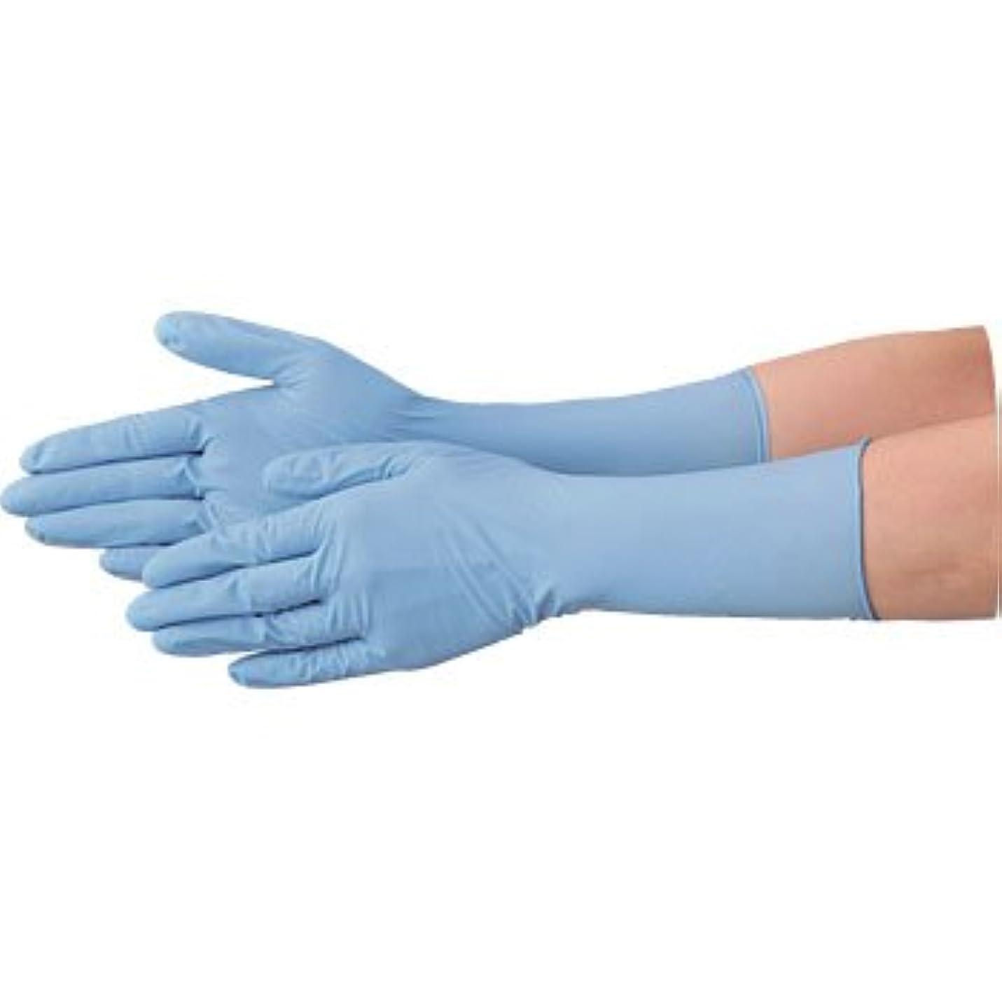 使い捨て 手袋 エブノ 528 ニトリル ロング手袋 パウダーフリー 全長29cm ブルー Lサイズ 2ケース(100枚×40箱)