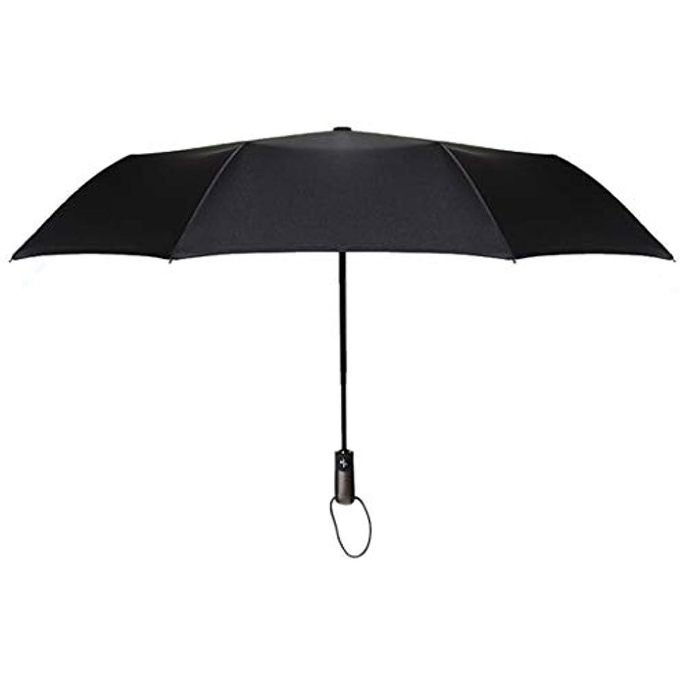 有益悪性腫瘍スーパーマーケットSummerys 全自動折りたたみ傘ビジネス無地三つ折り防風傘 (Color : Domineering black)