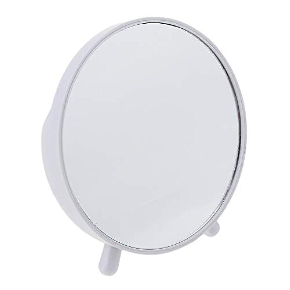 倒錯包囲地中海全3カラー 化粧台ミラー スタンド付き 卓上ミラー 軽量 コンパクト 化粧鏡 - ホワイト
