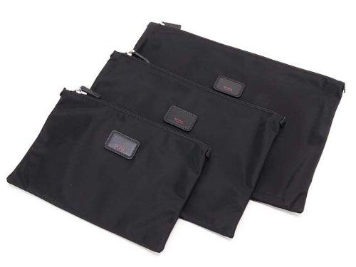 (トゥミ) TUMI 14830 Travel pack flat pouch set-3pc(トラベルパック フラットポーチセット) ブラック※正面プレート革 [並行輸入品]