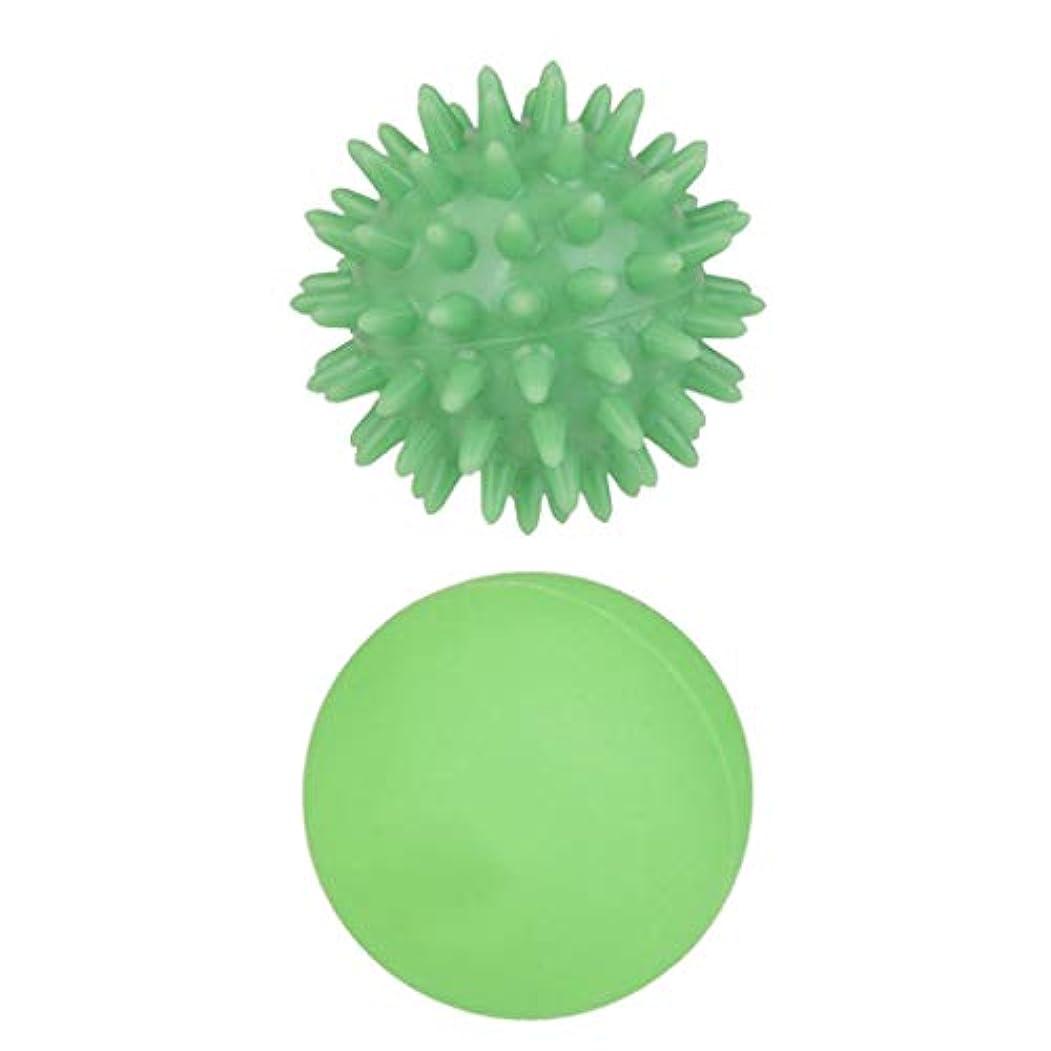 グリース申込み通行人dailymall 手のひら/足/腕/首/バック/足首の芝生の緑5.5センチメートル用ソフトフック側マッサージボール+緑ラクロスマッサージボールジムホーム運動療法のゴムボール