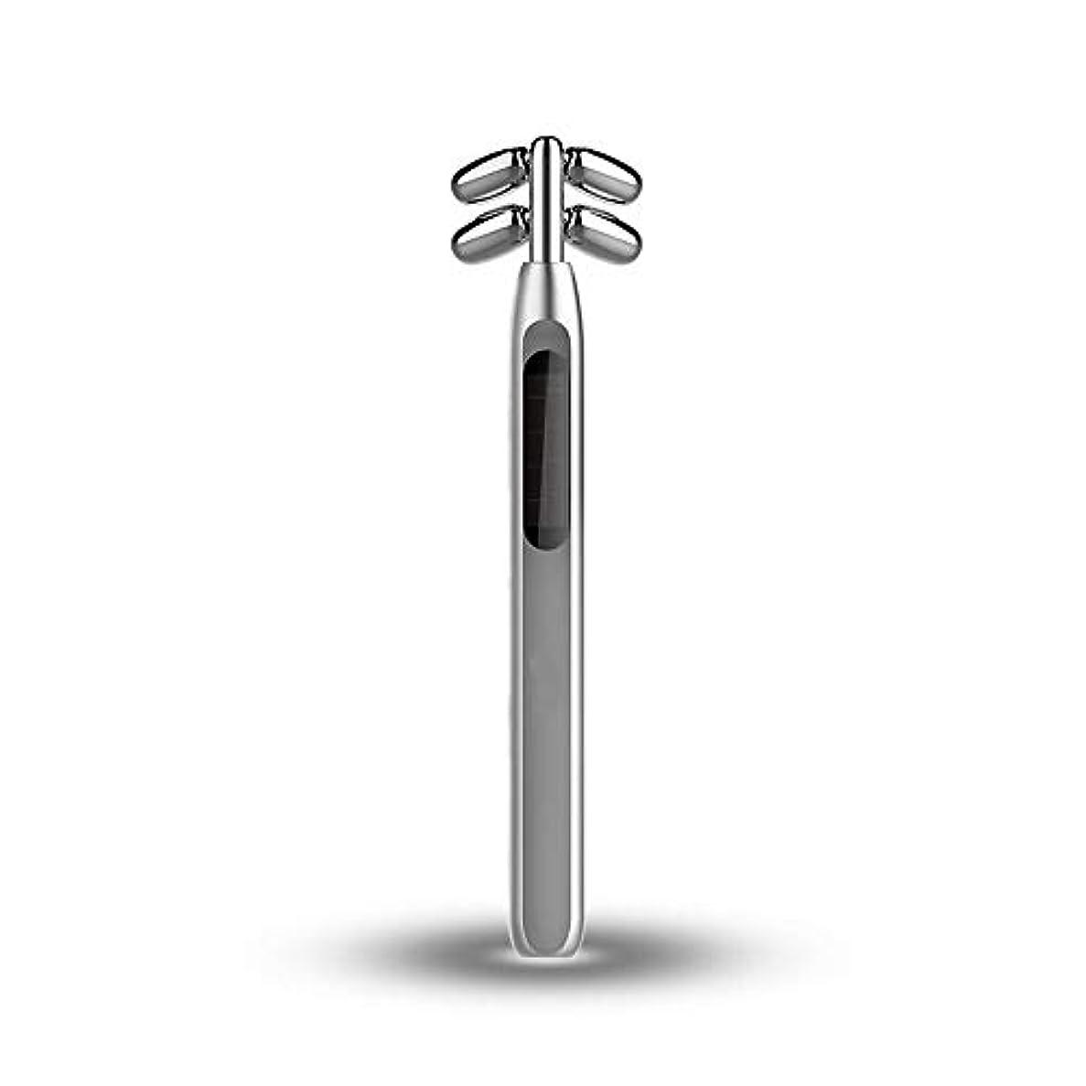 崖礼拝複雑ビューティーバーローラー、美容スティックフェイス微小電流マッサージ360度回転4つのローラV顔美容機器を引き締めフェイシャル?フェイスリフトスキン (Color : Silver)