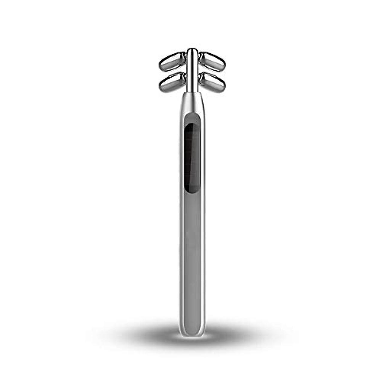 野心虚偽露出度の高いビューティーバーローラー、美容スティックフェイス微小電流マッサージ360度回転4つのローラV顔美容機器を引き締めフェイシャル?フェイスリフトスキン (Color : Silver)