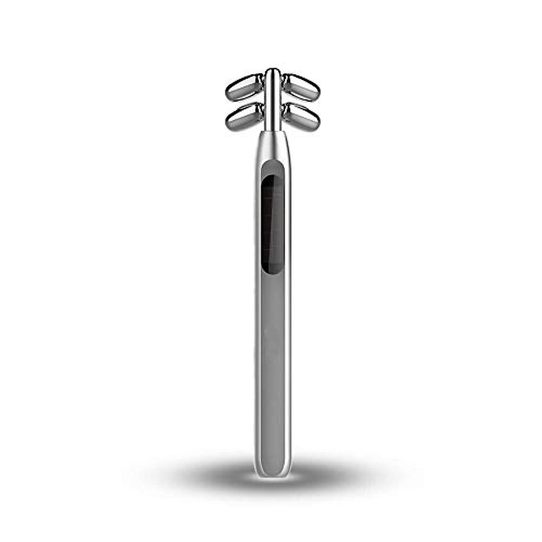聴覚冗談で折ビューティーバーローラー、美容スティックフェイス微小電流マッサージ360度回転4つのローラV顔美容機器を引き締めフェイシャル?フェイスリフトスキン (Color : Silver)