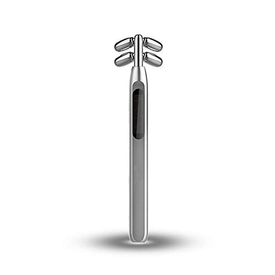 簡単な変化するクラッシュビューティーバーローラー、美容スティックフェイス微小電流マッサージ360度回転4つのローラV顔美容機器を引き締めフェイシャル?フェイスリフトスキン (Color : Silver)
