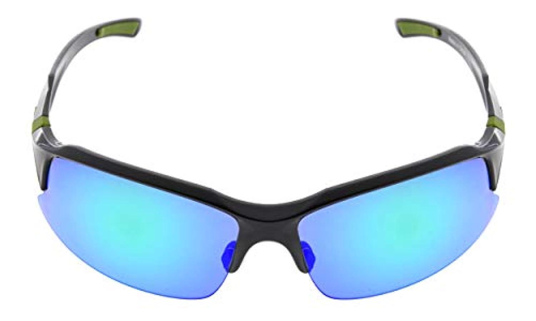 アイキーパー(Eyekepper)ポリカーボネート製 ハーフリム 偏光サングラス スポーツ用 男 女 兼用 野球 ランニング お釣り ドライビング ゴルフ ハイキング TR90 折れにくい ブラック-グリーンミラー