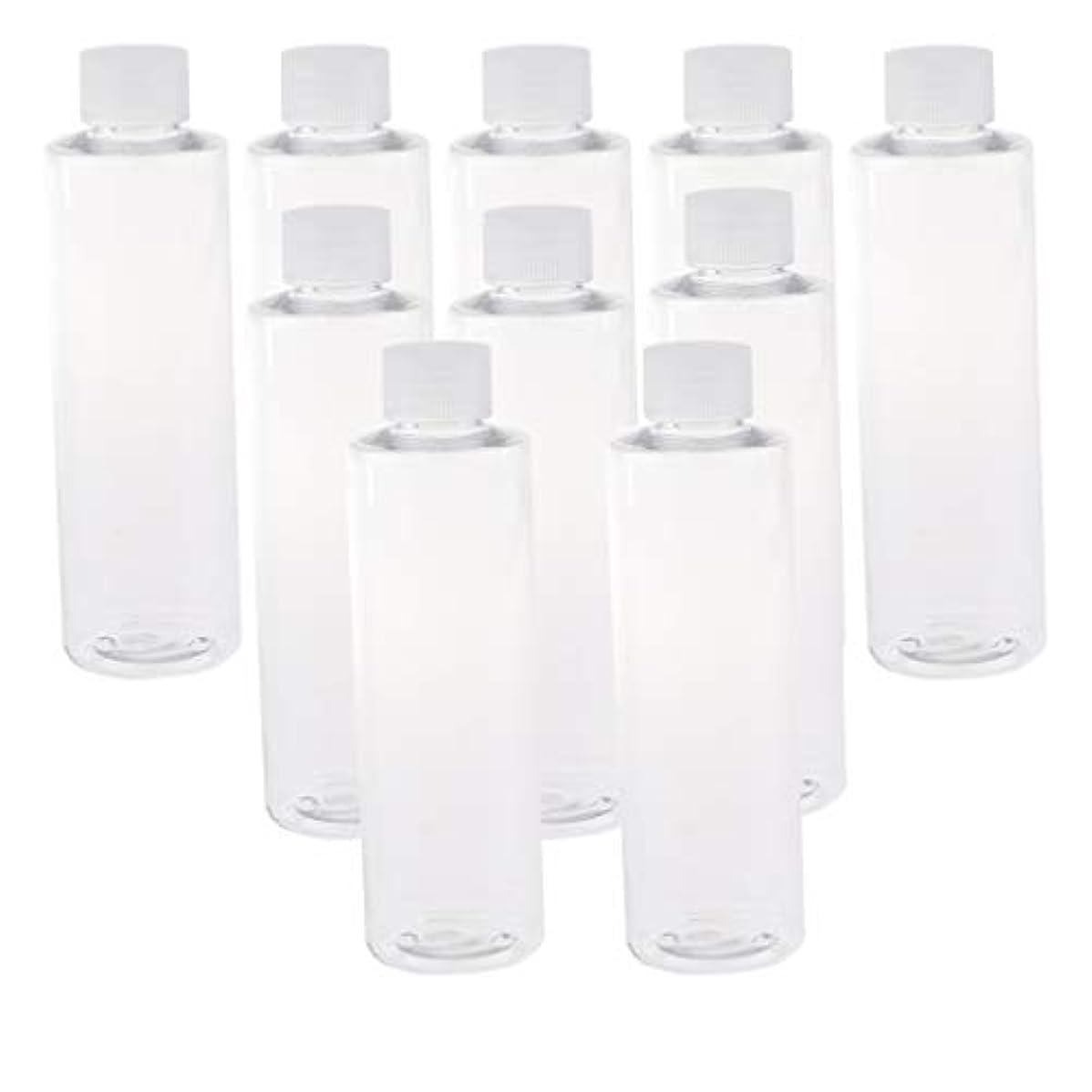 研究寛容習熟度200ml透明プラスチックジュースPET容器ボトル、カラースクリューエビデントキャップ付き(多様なカラーキャップ、10個) - クリアキャップ