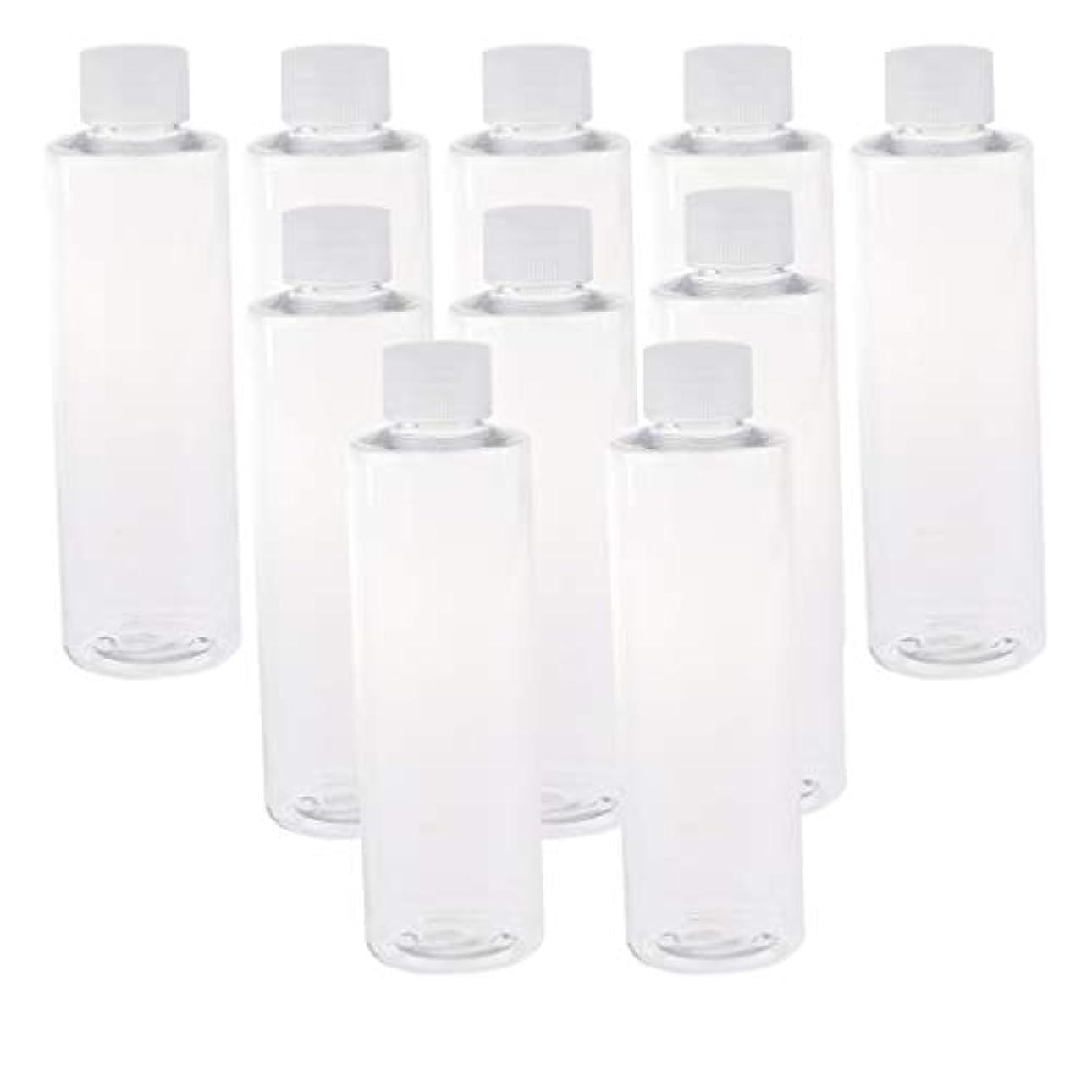 着実にゴネリル通行料金200ml透明プラスチックジュースPET容器ボトル、カラースクリューエビデントキャップ付き(多様なカラーキャップ、10個) - クリアキャップ