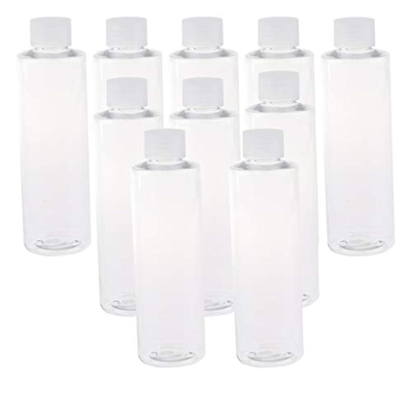 書誌対処する入浴200ml透明プラスチックジュースPET容器ボトル、カラースクリューエビデントキャップ付き(多様なカラーキャップ、10個) - クリアキャップ