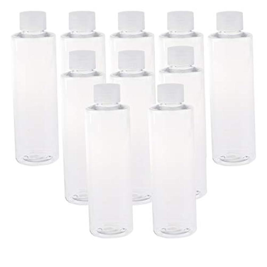 家庭影のある対抗200ml透明プラスチックジュースPET容器ボトル、カラースクリューエビデントキャップ付き(多様なカラーキャップ、10個) - クリアキャップ
