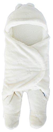 おくるみ お出かけ寝かしつけも楽々 ボア フード付き 赤ちゃん スリーパー 足つき 新生児 冬 防寒 (1:オフホワイト)