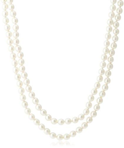 [イマック] imac ネックレス グラス製パール ホワイト 留金ラインストーン 120cm 129491