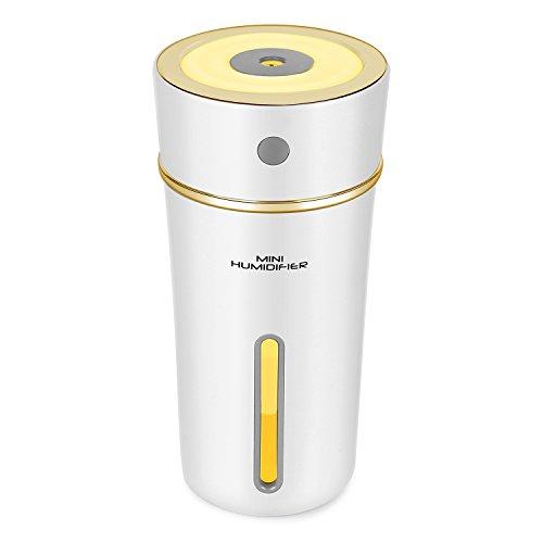 Rakum加湿器 卓上 アロマ 300ml大容量 ペットボトル型 USB接続や充電式兼用 10時間連続加湿 超音波式加湿器 静音 オフィス 寝室 車内乾燥対応 (ホワイト)