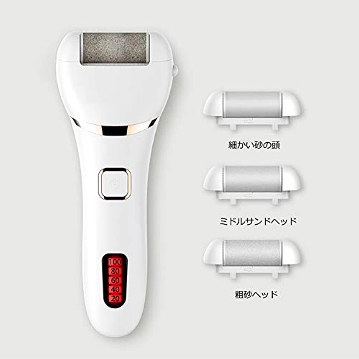 ハプニングメタルライン気まぐれな電動かかと角質取り リムーバー 水洗いでき 角質クリア ワンタッチスタート ローラー フットケア USB充電 角質リムーバー 女性/老人が大好 フットケアに大人気