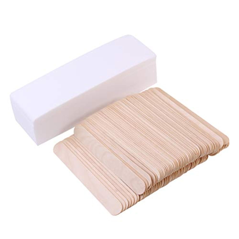 Healifty ヘアーリー使い捨て脱毛ワックス不織布フェイシャルボディストリップ紙脱毛舌圧子脱毛器でワックススティック100ピース