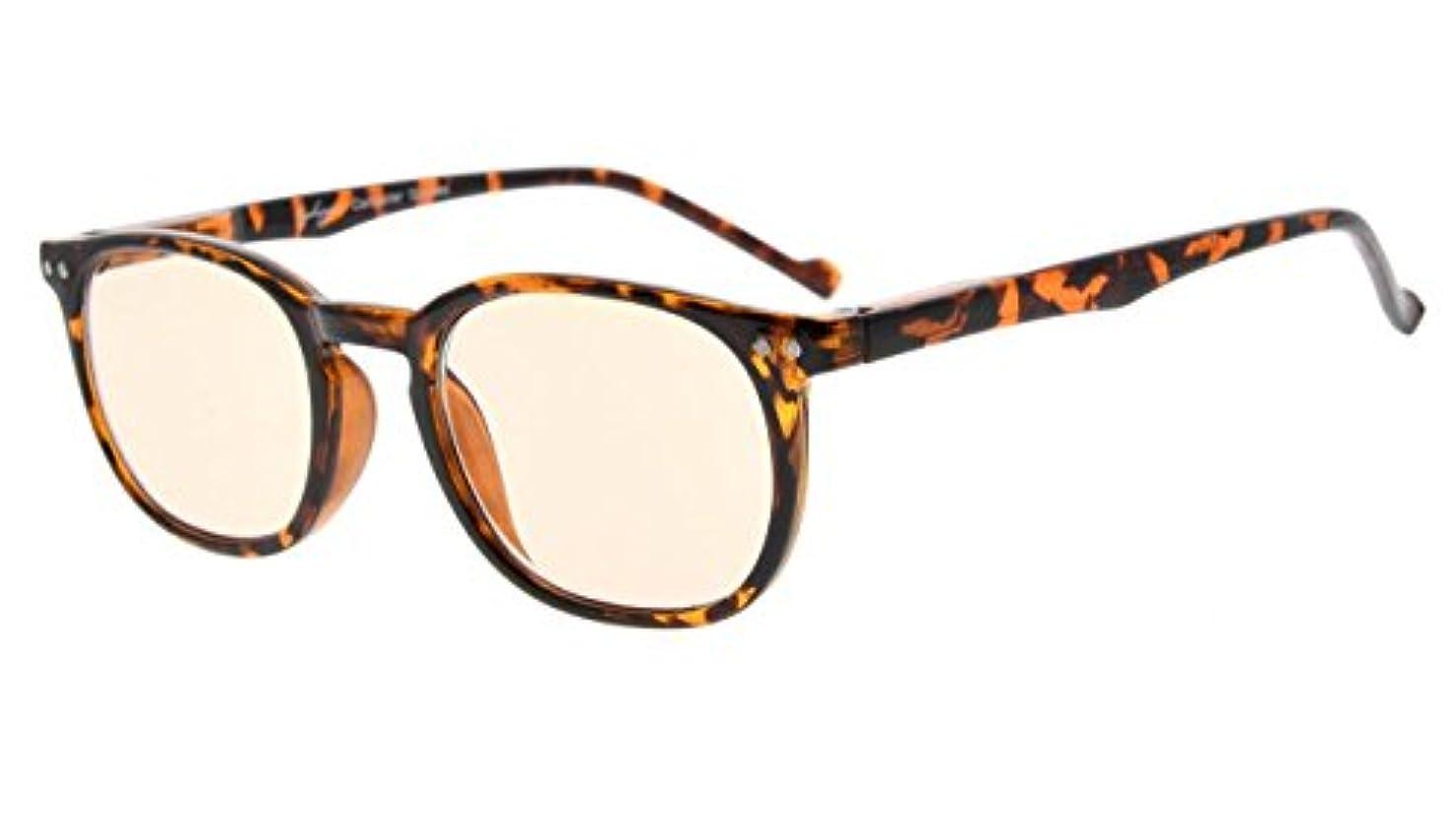 なめらかな求人ラジウムアイキーパー(Eyekepper)ヴィンテージ パソコン用眼鏡 PCメガネ リーディンググラス 老眼鏡 読書用 ノングレア 眩しさカット UVカット メンズ レディース ケース&クロス付 (琥珀色レンズ,ベッコウ) +2.0