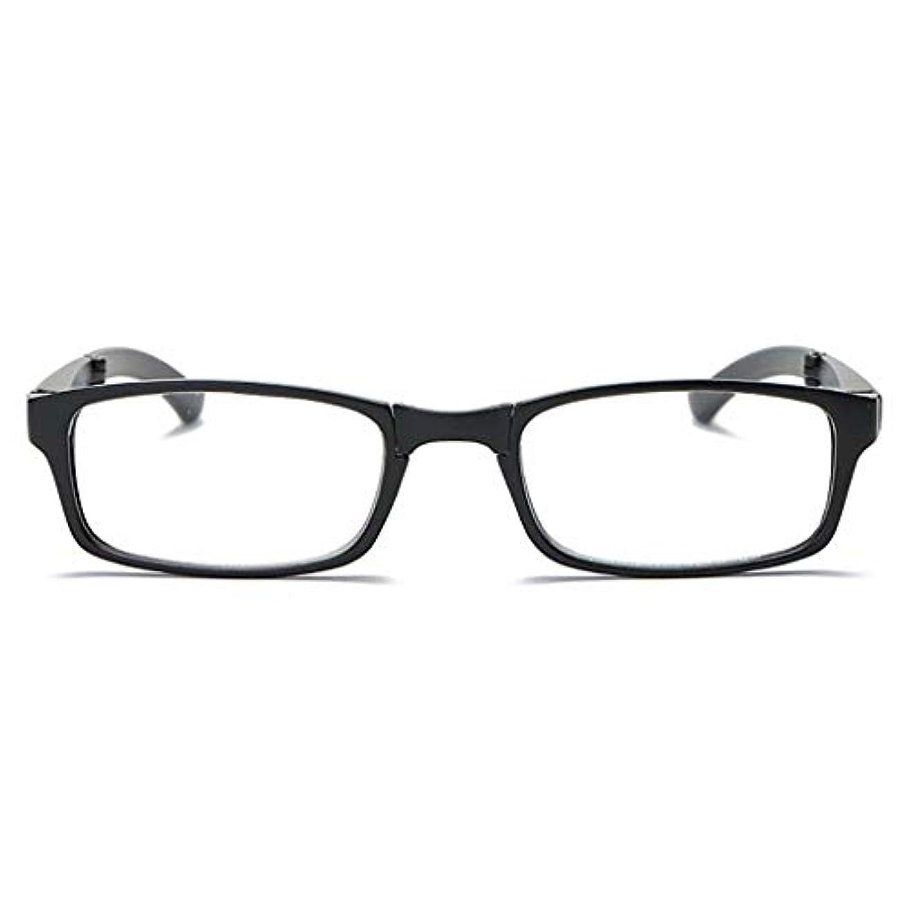 折りたたみ老眼鏡,ポータブル 完全なフレームの読者 伸縮バネ足 ミニ革ミラー ボックス ユニ-黒 +2.5