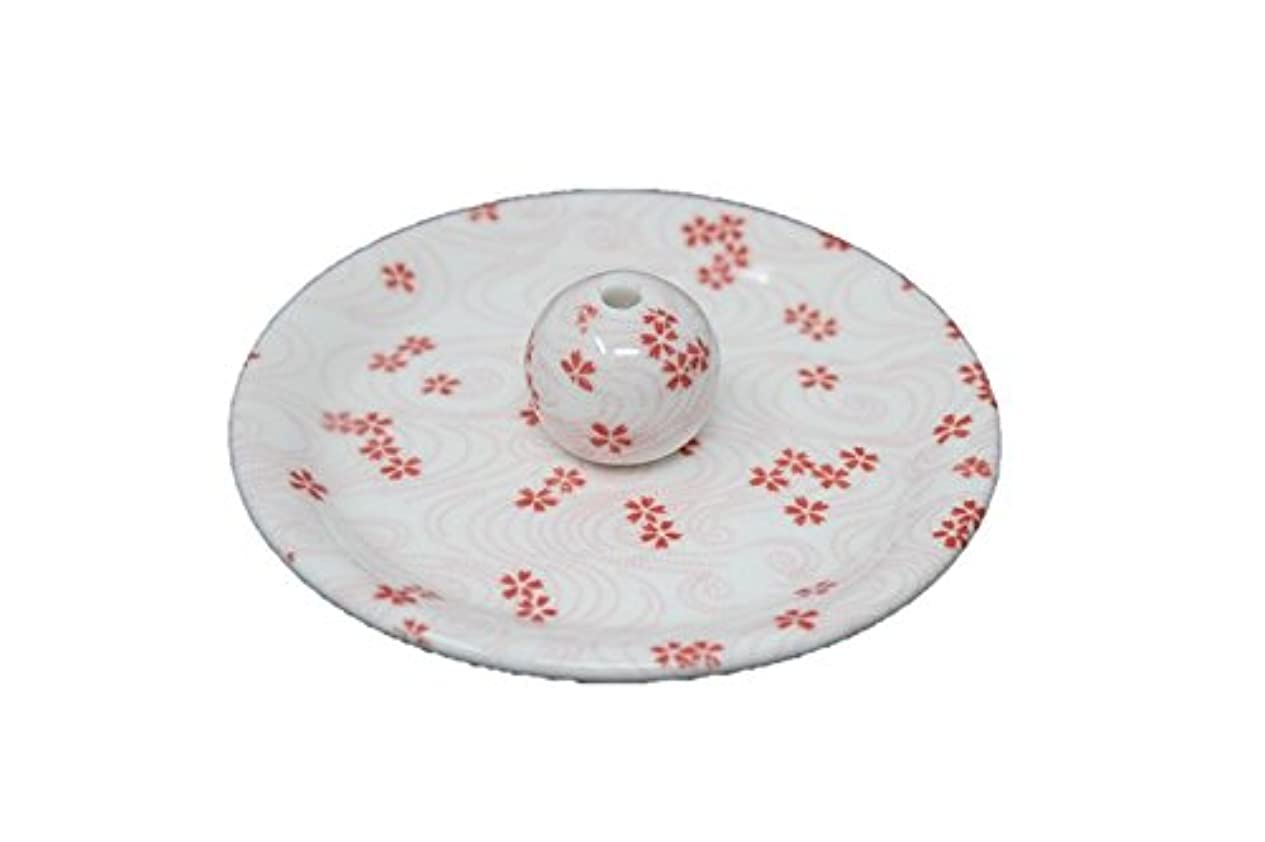 順応性失液体9-34 桜渦 9cm香皿 お香立て お香たて 陶器 日本製 製造?直売品