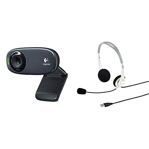 LOGICOOL ウェブカム HD画質 120万画素 C310 & サンワサプライ USBヘッドセット ヘッドホン ホワイト MM-HSUSB16W