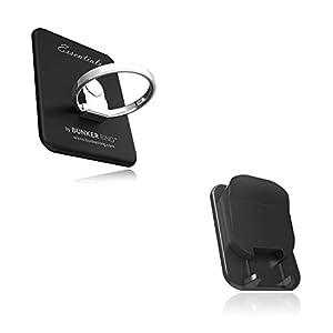 BUNKER RING Multi Holder Pack【車載ホルダー付】バンカーリング iPhone/Galaxy/Xperia/スマートフォン・タブレットPCを指1本で保持<落下防止+スタンド+車載ホルダー機能>(ブラック) BUMUBK