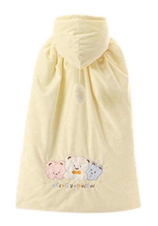 赤ちゃんはマント冬厚く暖かい綿の?ショールベアパターンイエロー秋
