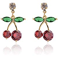 Cute Red Cherry Drop Earrings - 14K Gold Plated Green Leaf Red Cherry Crystal Cubic Zirconia Charming Dangle Earrings for Party Holiday Vacation Everyday