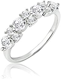 SOLIDSILVER- Sterling Silver Circle and Square Pattern Ring with Crystal Clear CZ For Women, Girls & Teens | Sizes 6-9