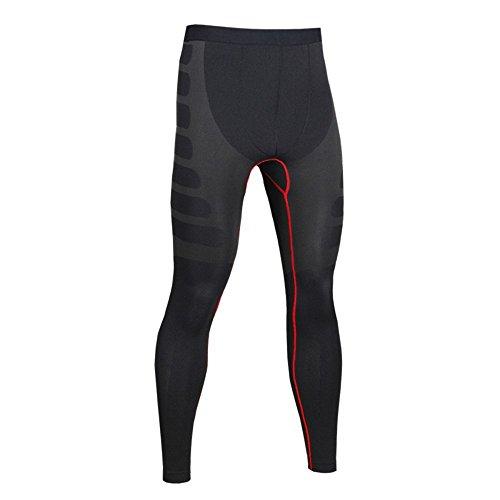Burvogueスポーツ タイツ コンプレッション冷感 吸汗速乾 ロングパンツ アンダーウェア (Medium, 赤)