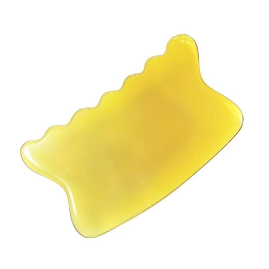 晩餐用語集是正かっさ プレート 希少55 黄水牛角 極美品 曲波型