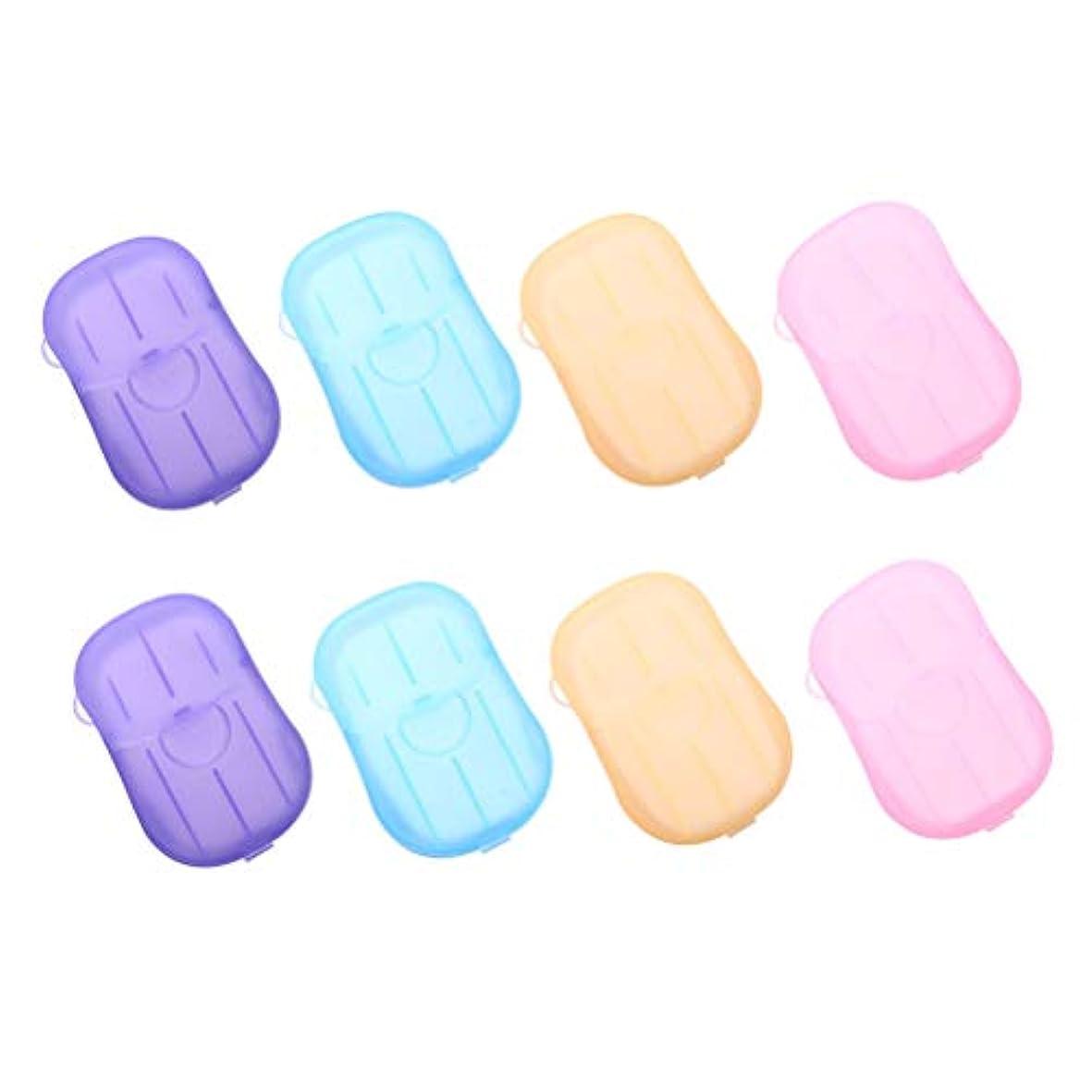 チーター刺繍十億SUPVOX 8ピースポータブルソープペーパー使い捨て手洗いペーパーソープスライスシート用子供大人トイレ旅行屋外