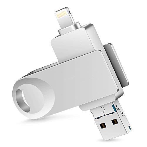 iPhone メモリ USBメモリ MFI取得(Apple認証) フラッシュドライブ パスワード保護 32GB 3in1 usb3.0 高速データ転送 コネクタ付き Lightning OTG iPhone/Android / PC対応 一本三役 iPhone/iPad容量不足解消(シルバー)