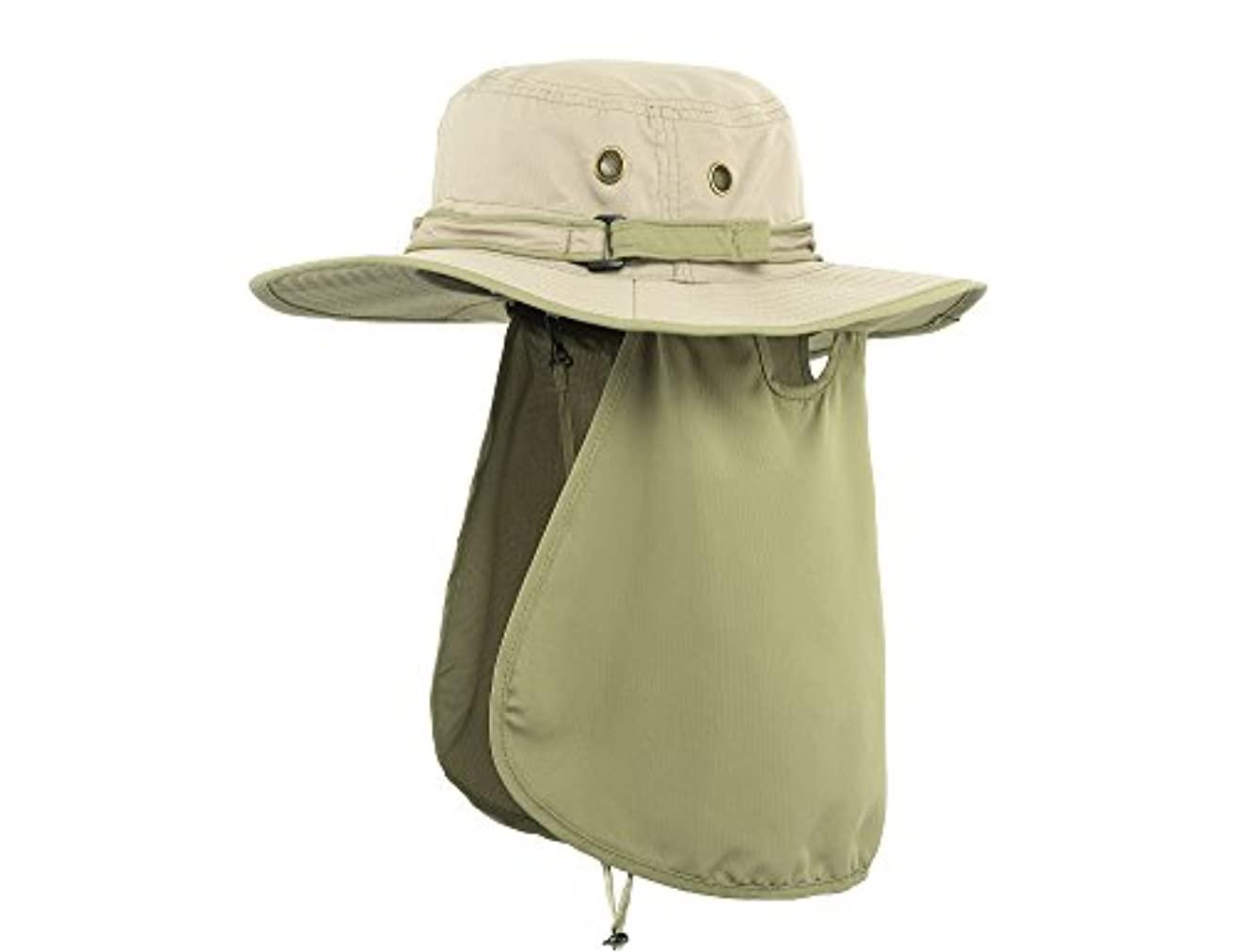 Hollosport 釣り用バケツ サンハット フラップネックカバー付き メンズ レディース 22~24インチ 超紫外線保護 アウトドア活動用