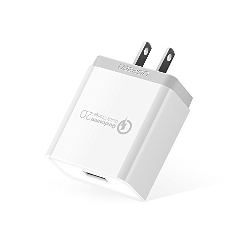 UGREEN USB 急速充電器 Quick Charge 2.0 18W ACアダプター Qualcomm認証済 Xperia X Performance、GalaxyS7/S6/Edge、Samsung note 8、HTC、LeTV、iPhone各種、iPod、iPad各種、Android スマホ/タブレット、Wi-Fiルーター、モバイルバッテリーなど急速充電対応 (ホワイト)