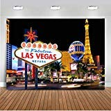 mehofoto Welcome to Las Vegas Backdrop 7x 5ftビニールカジノCity Night景色背景写真ブースの撮影テーマパーティー装飾背景