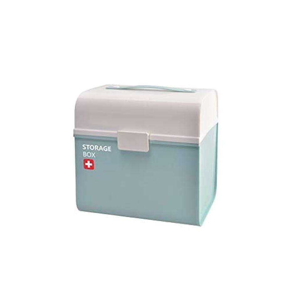爆弾バーゲン亜熱帯家庭用多層薬箱ポータブルプラスチック薬収納ボックス大容量救急箱 AMINIY (Color : Blue)