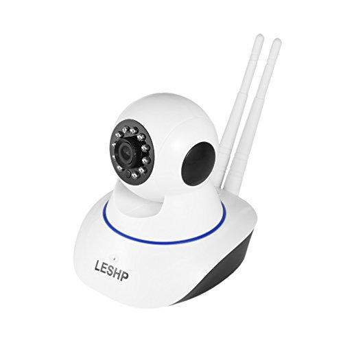 LESHP カメラ ペットの見守り 監視カメラ 動体検知 警報機能 暗視機能 双方向会話 家用 遠隔操作 可愛いスタンドカメラ 防犯カメラ ネットワークカメラ