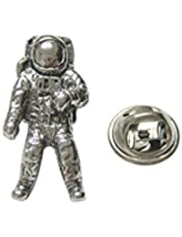 Silver Toned Textured space astronautラペルピン