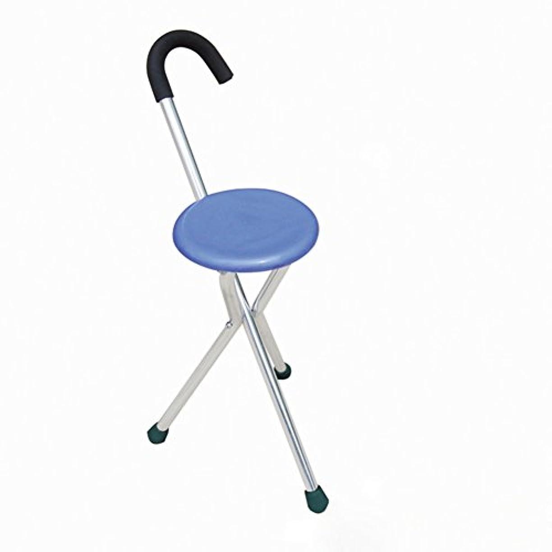 救出ジャンプ侵略高齢者および障害者席三脚軽量の杖で杖を折りたたみ松葉杖-青