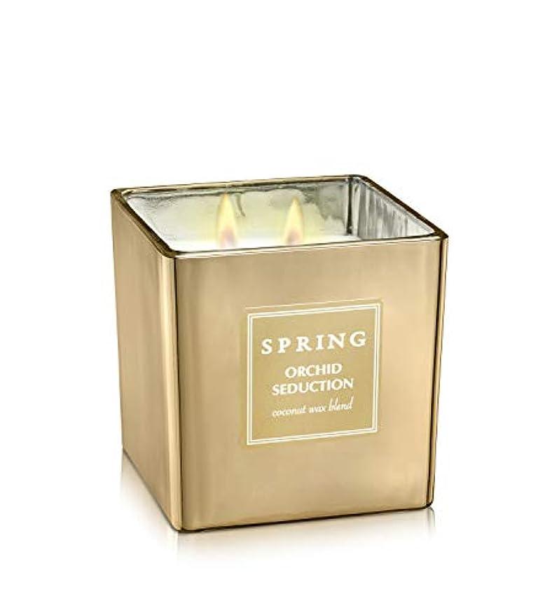 信頼性のある冷える覗くばね香りつきラグジュアリーCoconutワックスGolden Candle – Cubic – サイズ8 – アルプスの花ホームデコレーション Cubic 8.5 oz
