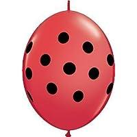 Big Polka DotsレッドwithブラックSpots 6