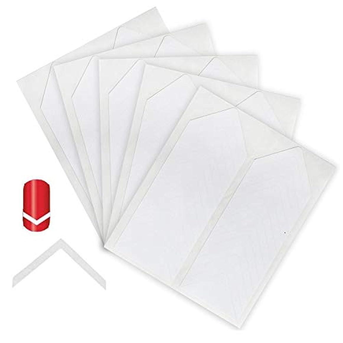 空白家禽証人130pcsプロフェッショナルネイルアートサロン品質アメージングバリュー5セットシェブロンのホワイトガイドステッカー/ストリップ/フレンチネイルマニキュアとラインデザイン/パターンアプリケーションの三角形