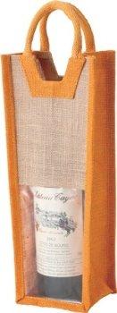 【ファンヴィーノ】麻ワインバッグ1本用(オレンジ)×10枚販売(G07124-10)