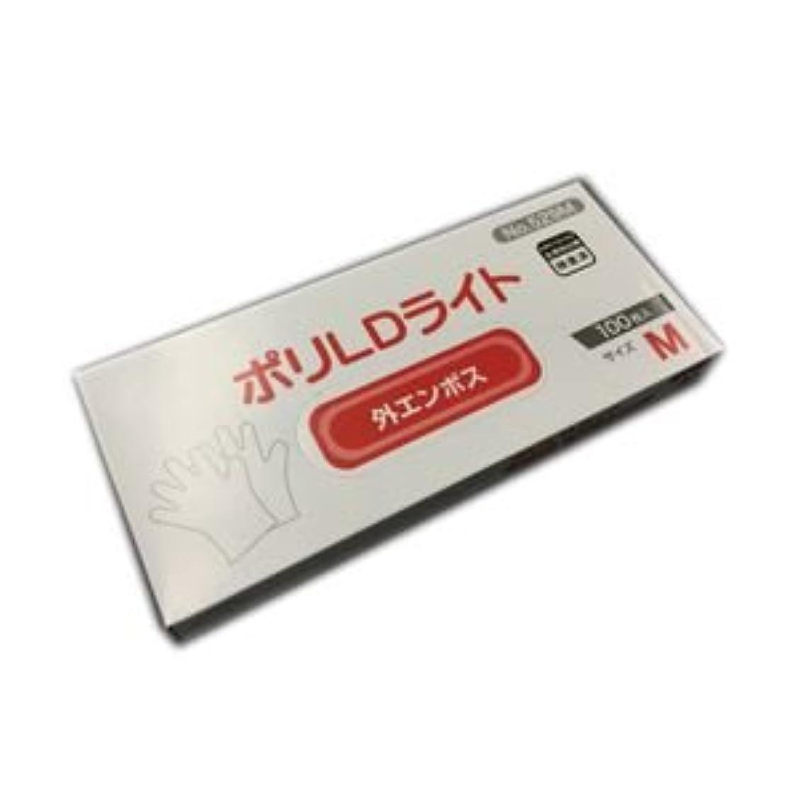 形状ドット電池(業務用セット) オカモト 低密度ポリエチレン手袋 ポリLDライト M 1箱(100枚) 【×20セット】 dS-1639048