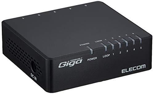 エレコム スイッチングハブ ギガビット 5ポート AC電源 EHC-G05PA-B-K