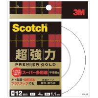3M スコッチ 超強力両面テープ プレミアゴールド (スーパー多用途) 12mm×4m 1巻
