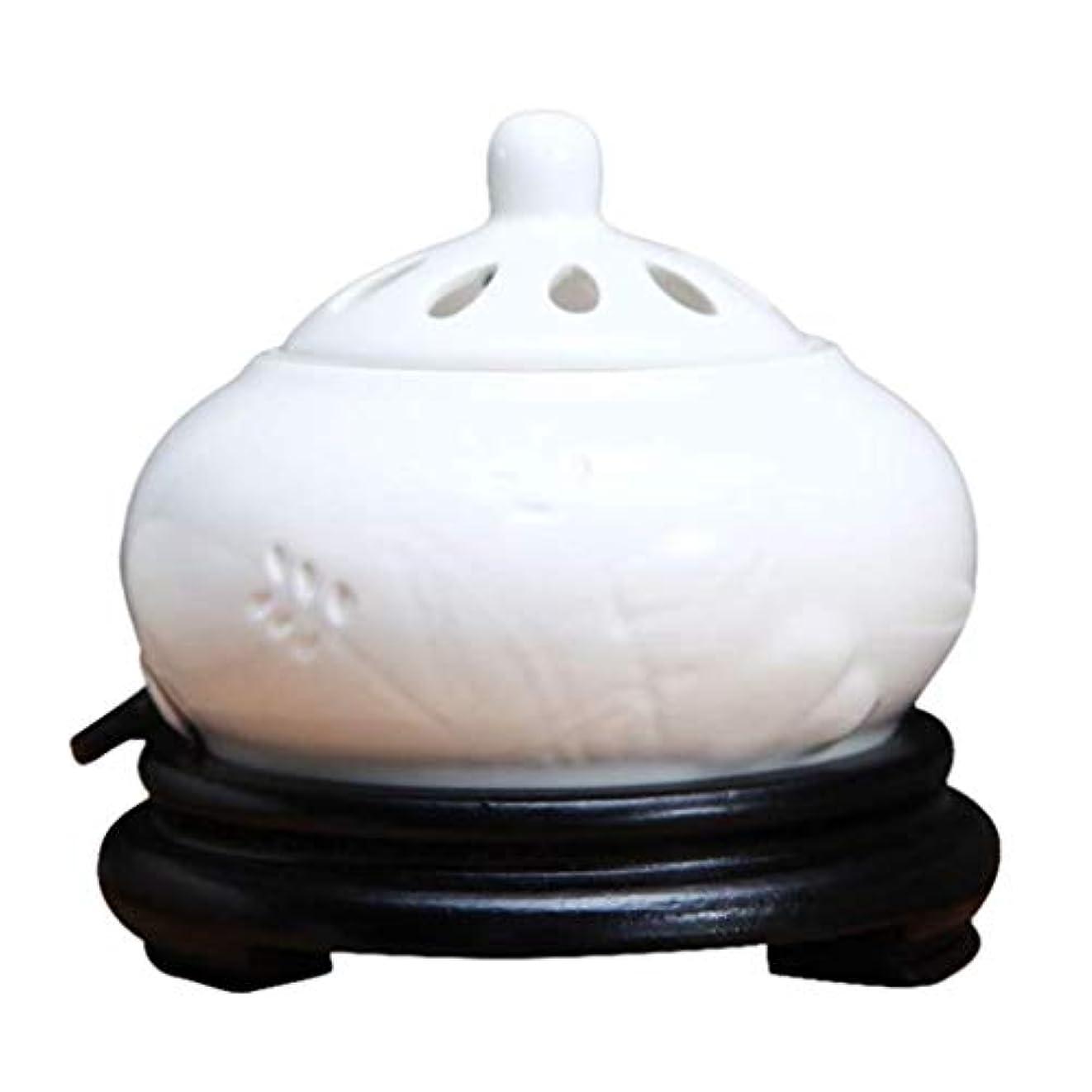 リダクターメダル媒染剤MYTDBD 電子香炉、ホーム磁器、バルコニー、ポーチ、パティオ、ガーデンエッセンシャルセラミックアロマセラピー炉 (Color : White)