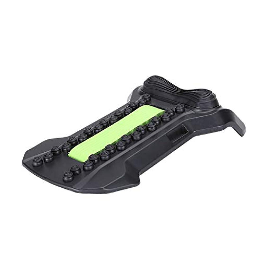 踏み台コンセンサス変化背部マッサージャーの伸張装置、腰椎サポート弛緩の魔法の伸張器の適性の仲間の脊椎の痛みを和らげるカイロプラクター,Green